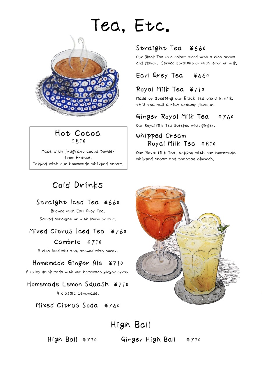 english tea,etc menu page